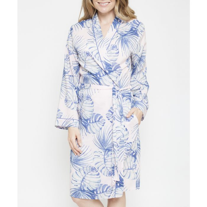 Image for Isla palm leaf printed short robe