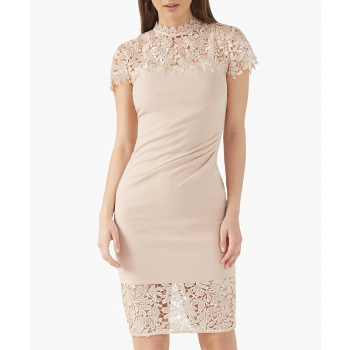 Image for Nude sequin lace dress
