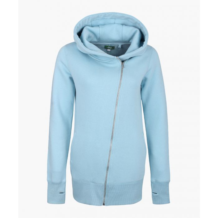 Image for Blue cotton blend zip-up hoodie