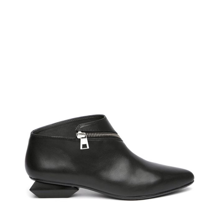 Image for Black leather zip detail ankle boots