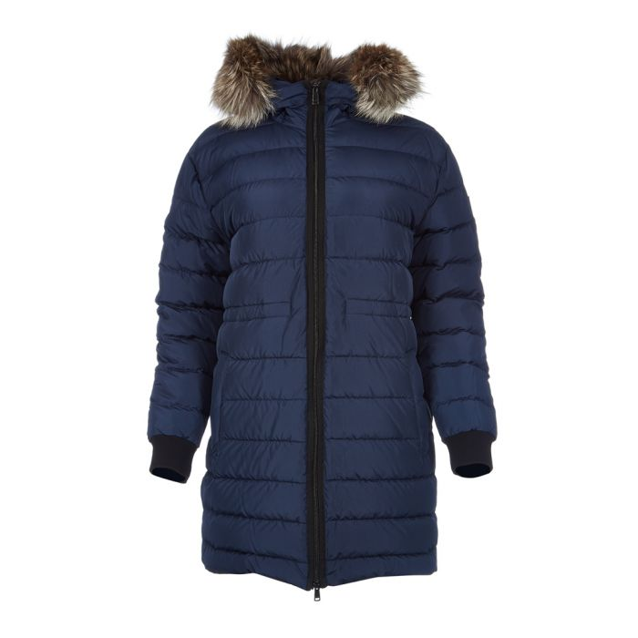 Image for Fenelon navy fur trim hooded coat