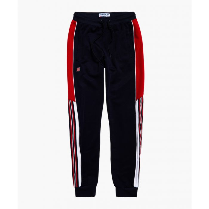 Image for Track navy and red colour block trousers