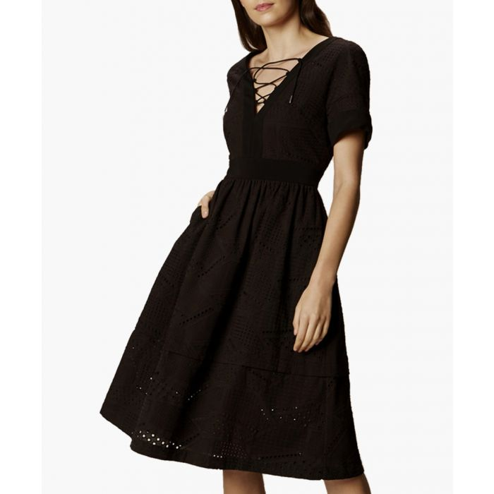 Image for Black cotton blend laced A-line dress