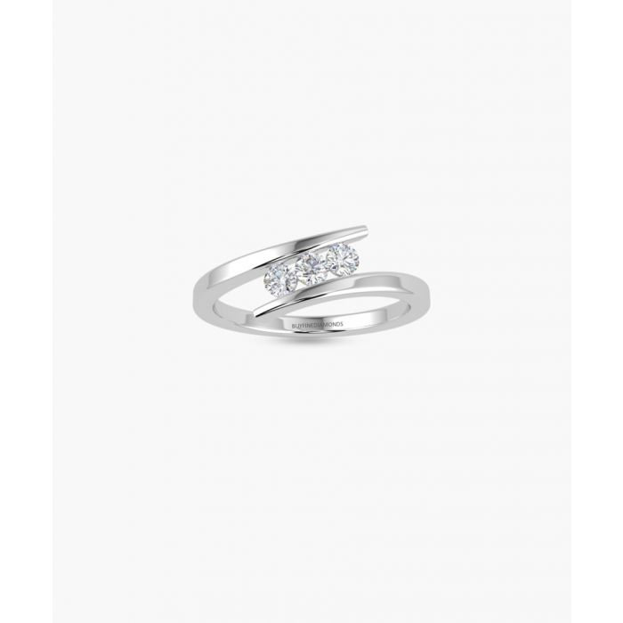 Image for 9k white gold triple diamond ring