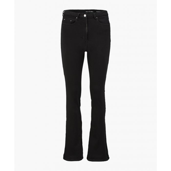 Image for Jet black triumpt flared high waisted jeans