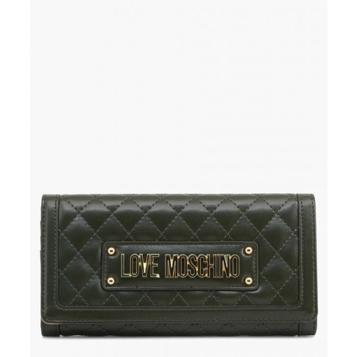Image for Green faux-leather clutch