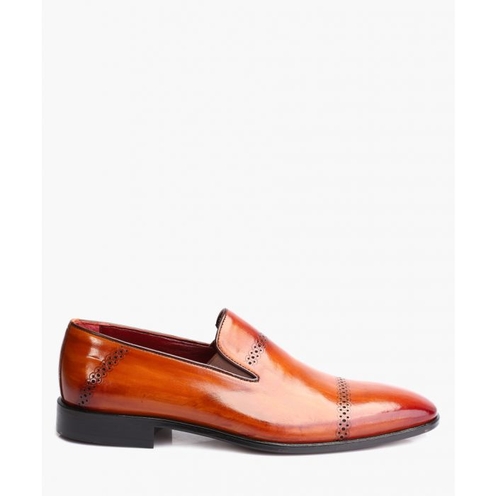 Image for Tan leather toe-cap loafers