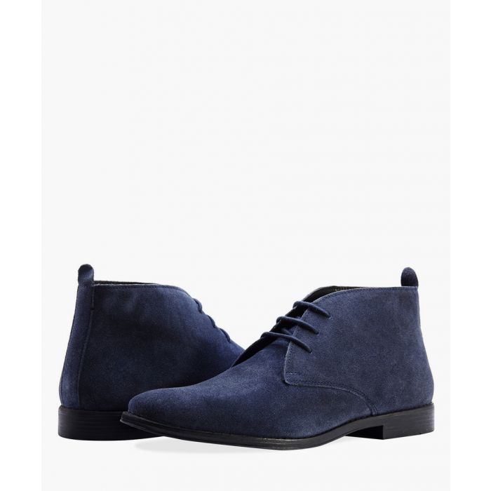 Image for Navy leather leather desert boots