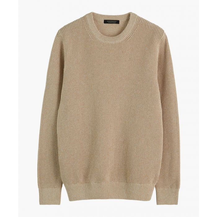 Image for Ecru melage recycled cotton-blend crew neck jumper
