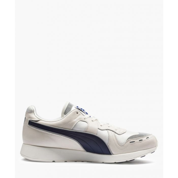 Image for RS-100 PC grey and navy leather trainers