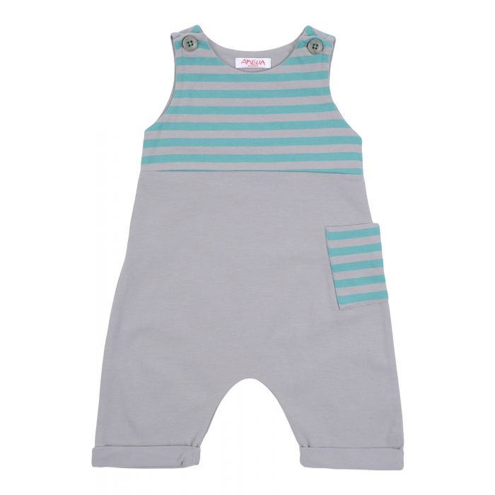 Image for Grey striped panel sleeveless romper