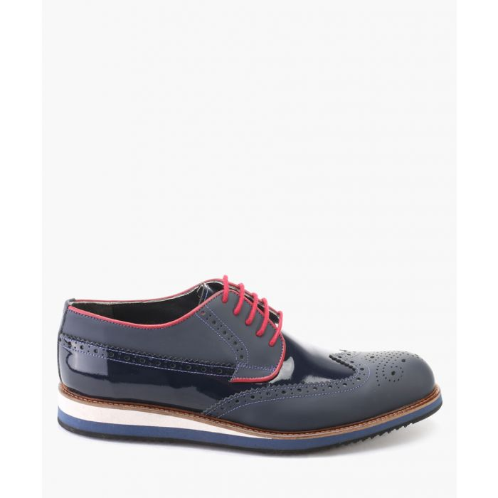Image for Blue leather derby brogue shoes