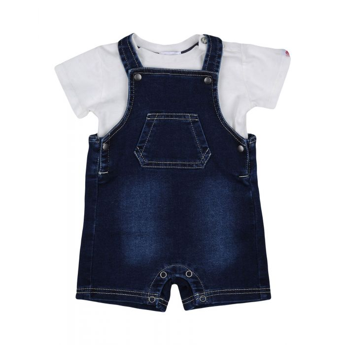 Image for Dark blue faded effect cotton baby dungarees