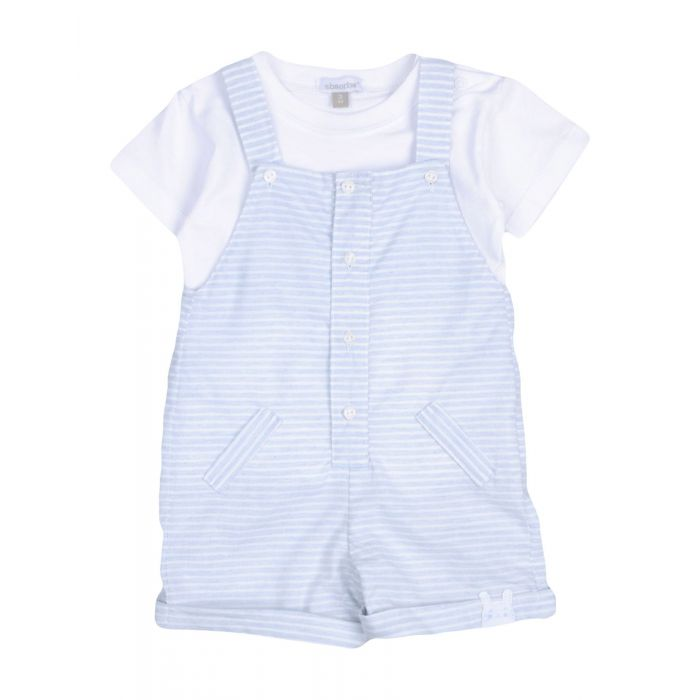 Image for Sky blue short sleeve cotton jersey baby dungarees