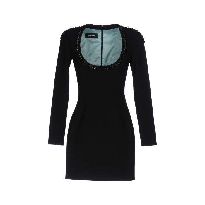 Image for Black embellished collar crepe mini dress