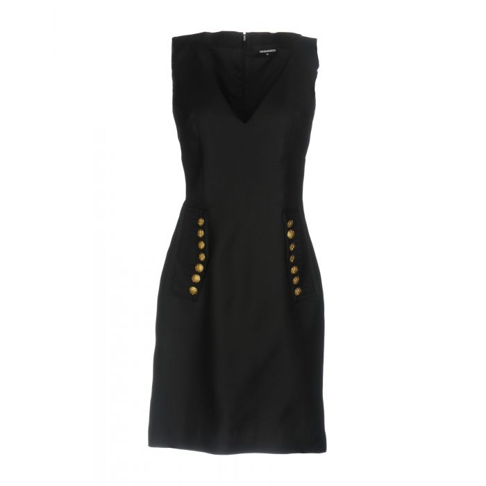 Image for Black sleeveless wool-silk blend mini dress