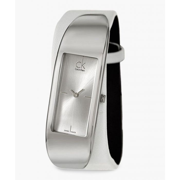 Image for White leather and silver-plated watch