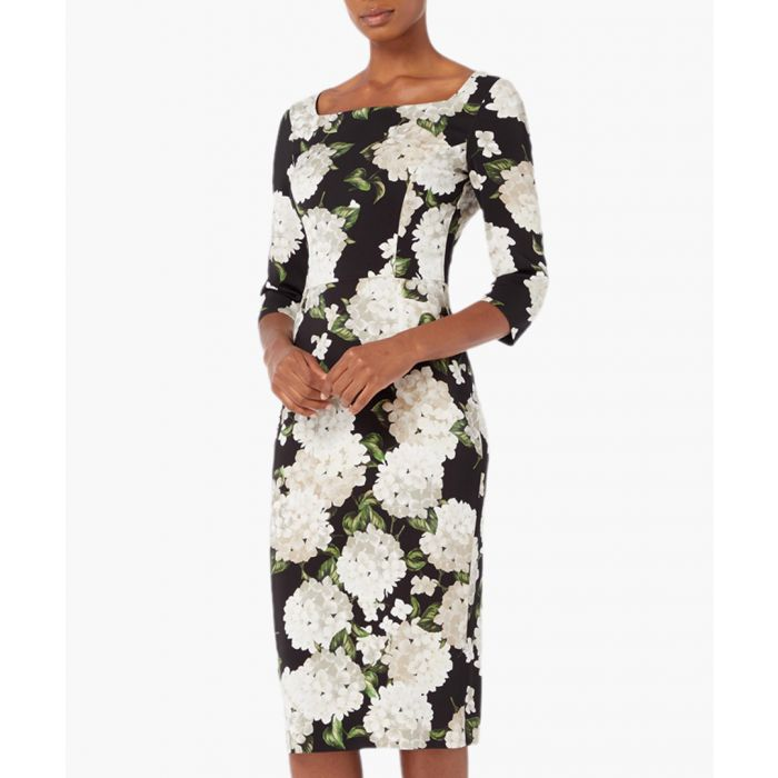 Image for Imagine black and white hydragea print fitted dress