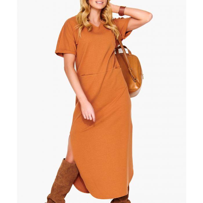 Image for Camel cotton blend dress