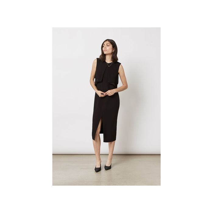 Image for Black drape detail dress