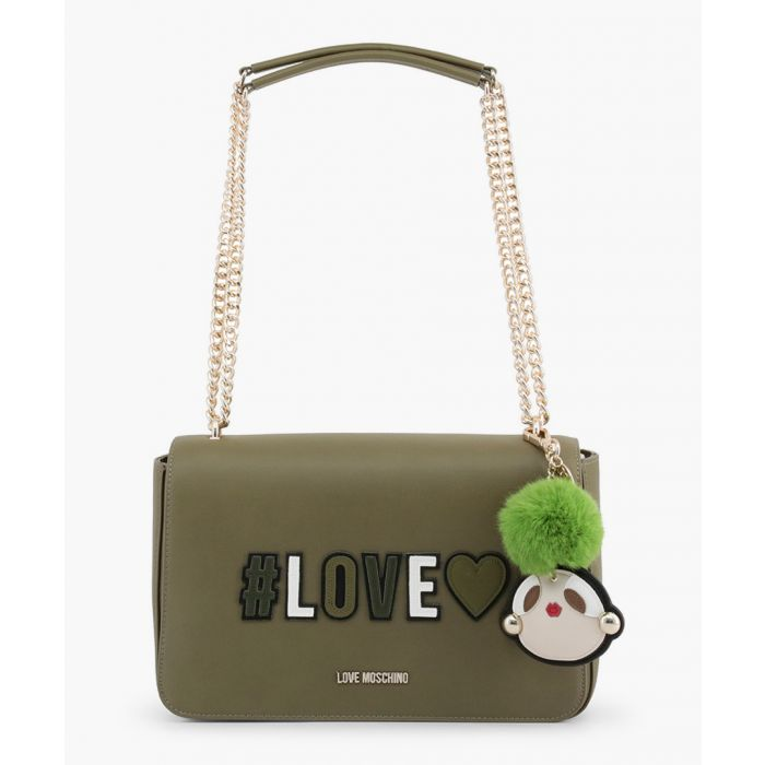 Image for Green faux-leather shoulder bag