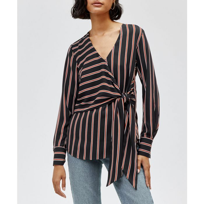 Image for Black & brown stripe wrap top