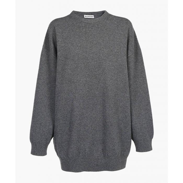 Image for Grey pure cashmere logo jumper