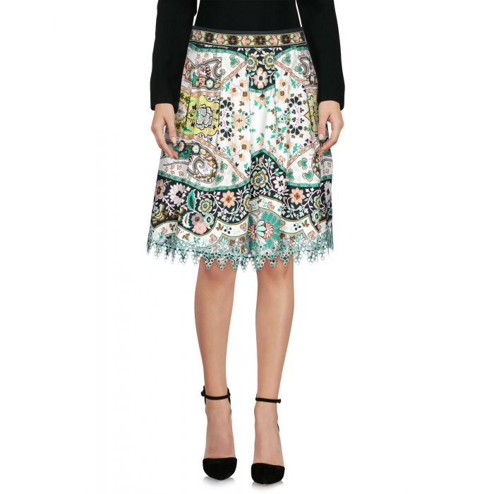 Image for Green cotton knee-length skirt