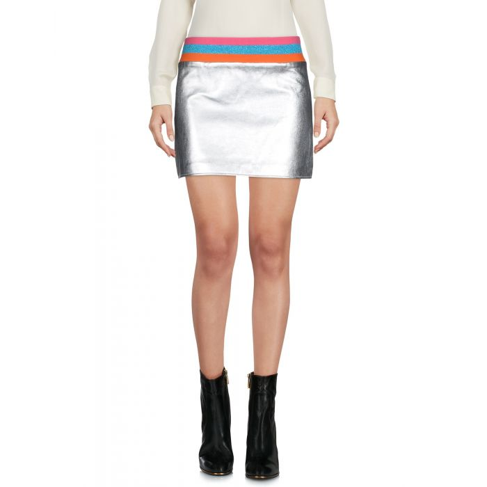 Image for Silver-tone leather mini skirt