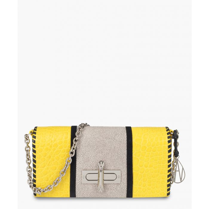 Image for Baguette Costello yellow leather clutch