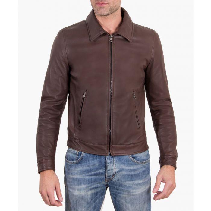 Image for Dark brown leather biker jacket
