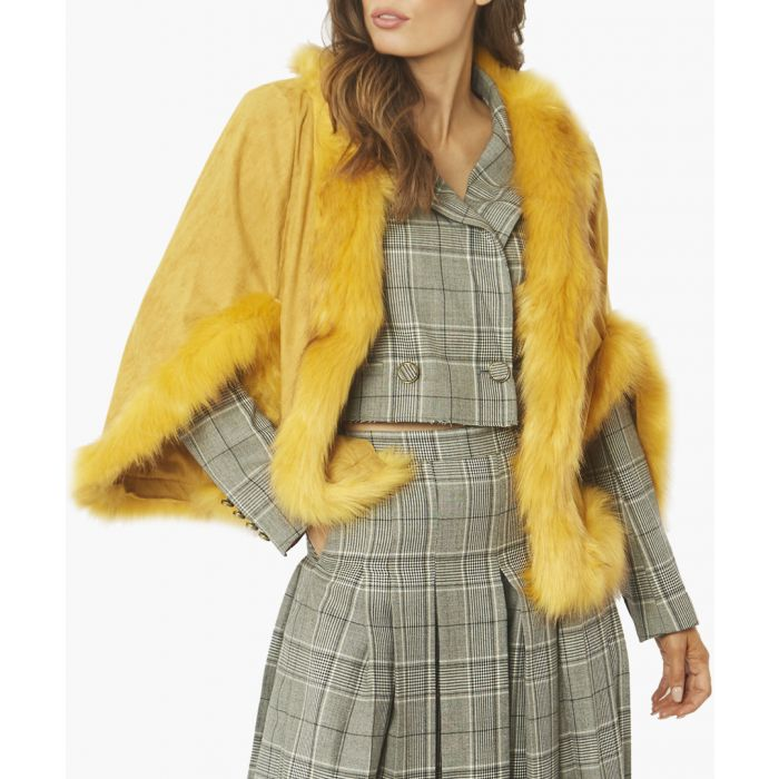 Image for Yellow faux fur cape jacket