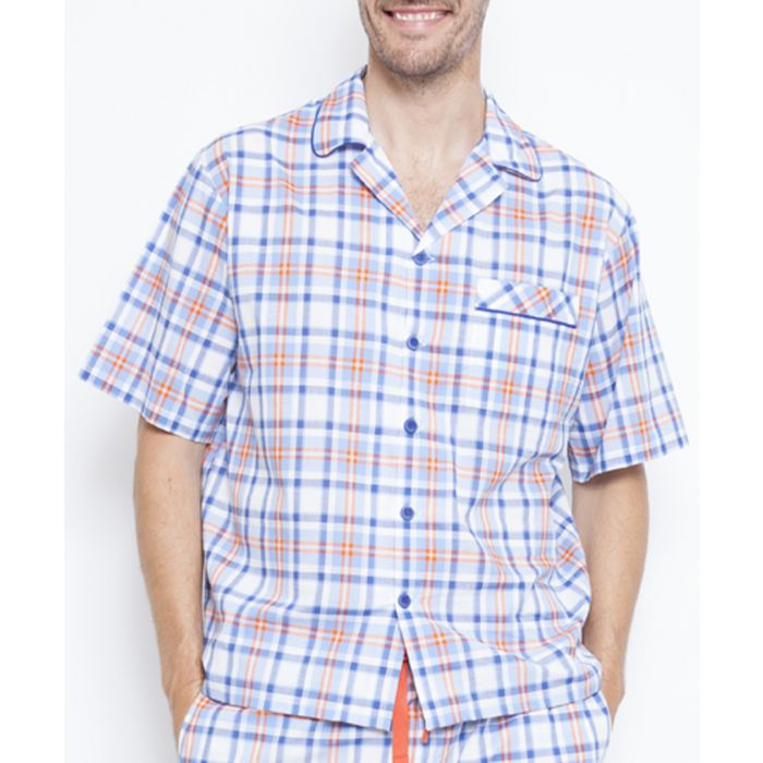 Image for Oscar blue check pyjama shirt