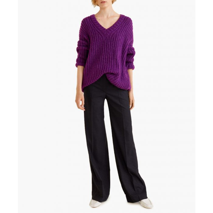Image for Purple chunky-knit sweater