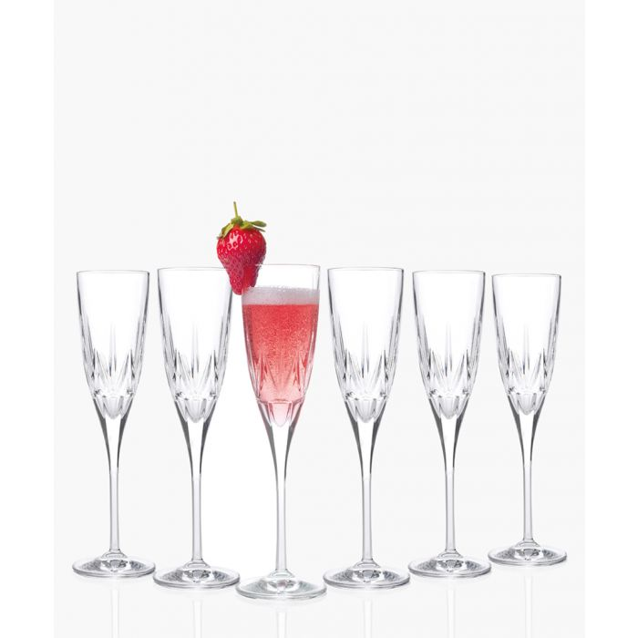 Image for 6pc Chic Luxion Crystal champagne flutes 150ml