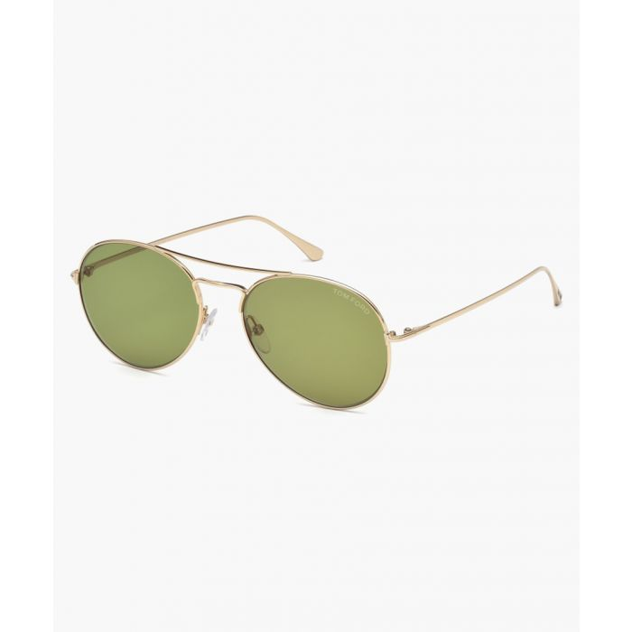 Image for Ace gold-tone and green aviator sunglasses