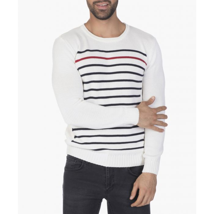 Image for Ecru and navy long sleeve top