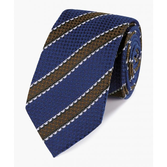Image for Royal blue wool and silk stripe classic tie