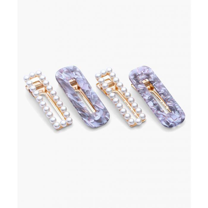 Image for 4pc Acetate and faux pearl hair clips