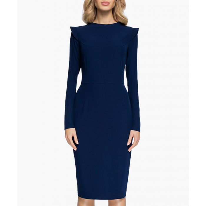 Image for Navy blue pleat detail fitted dress