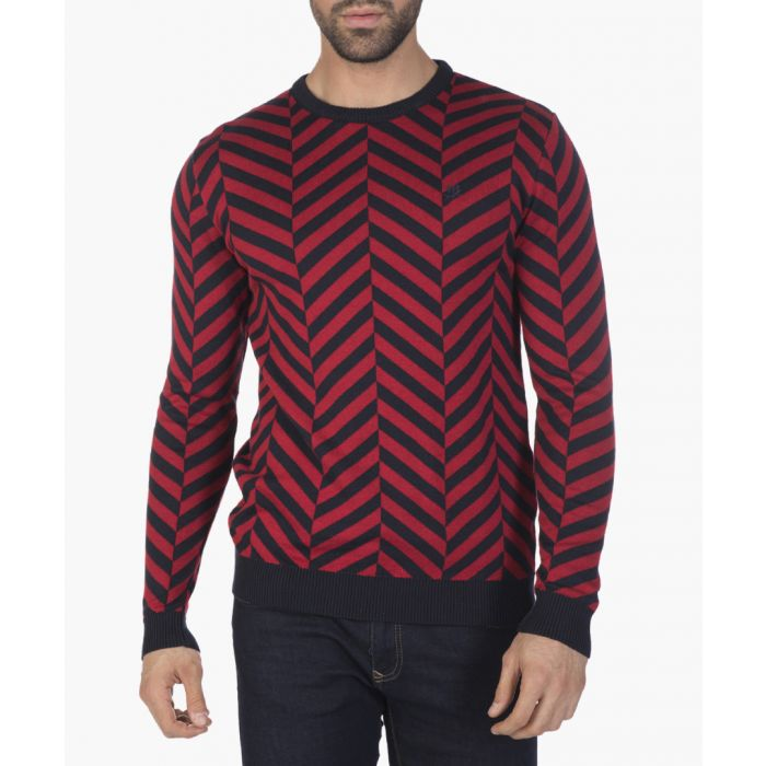 Image for Bordeaux and navy blue geometric printed jumper