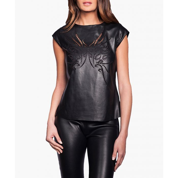 Image for Womens marjolaine black leather top