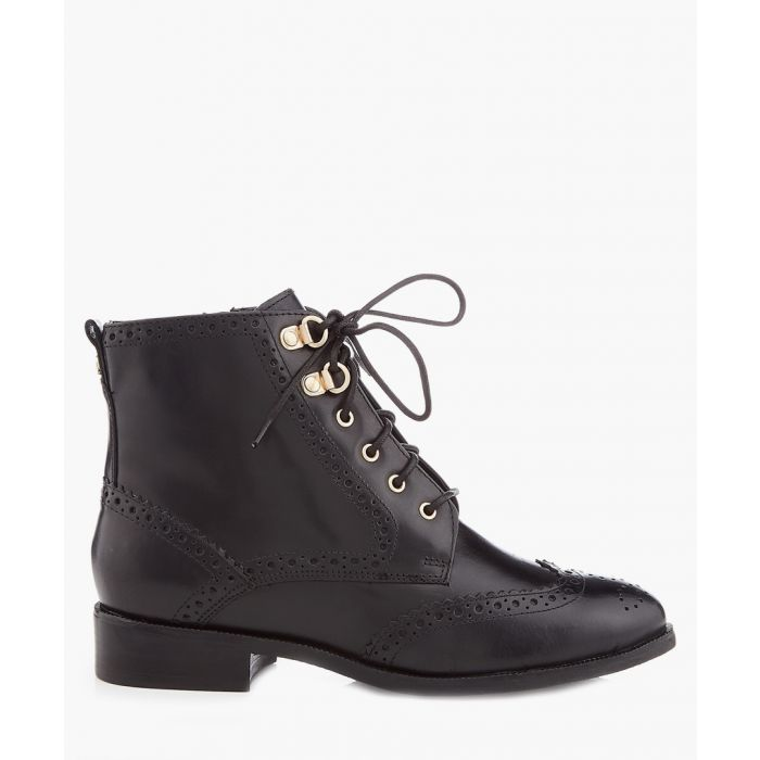 Image for Black leather lace-up wingtip boots