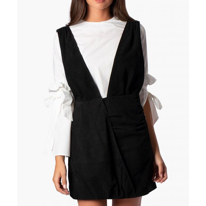 Image for Black suede pinafore-style deep V-neck dress