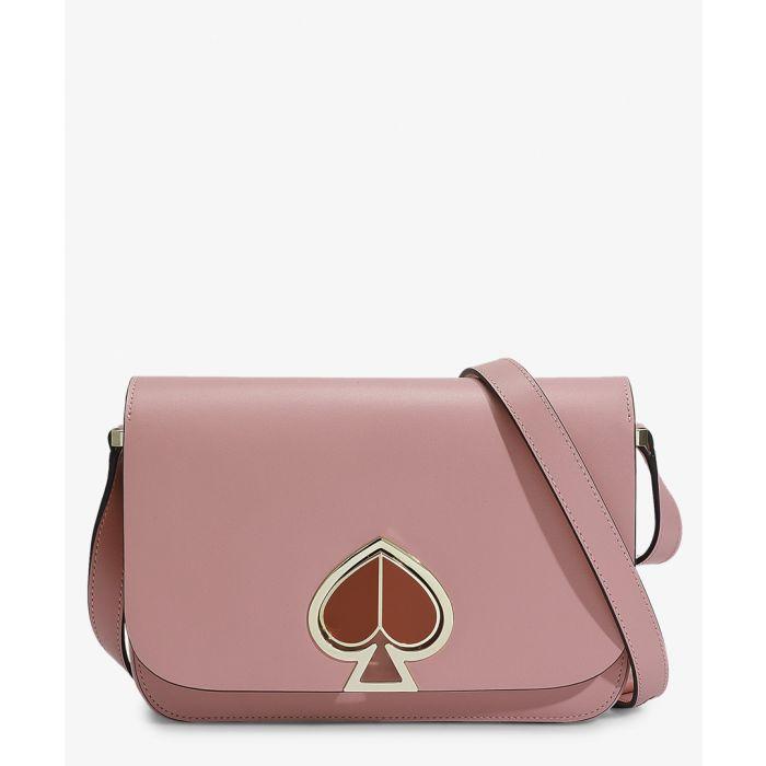 Image for Nicola Twistlock Medium Flap Shoulder Bag in Pink Leather