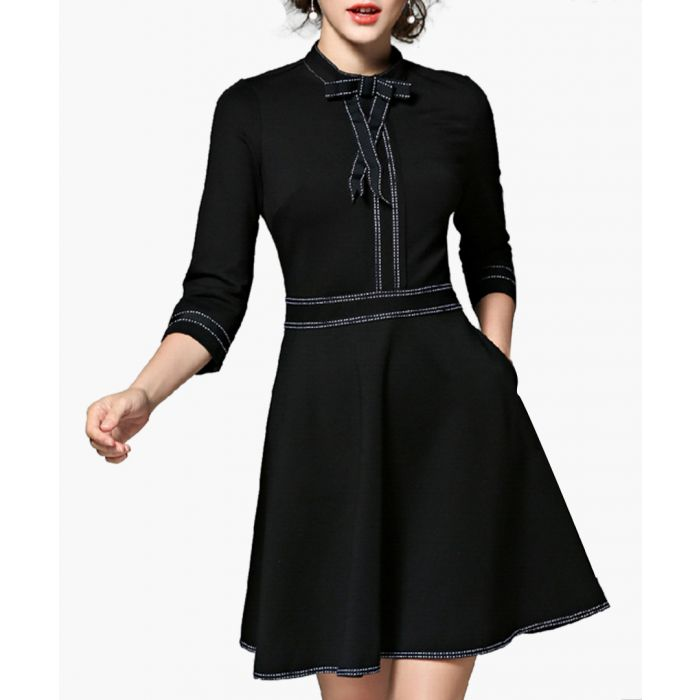 Image for Black 3/4 sleeve print mini dress