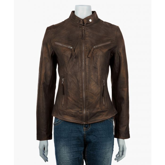 Image for Womens classic brown biker jacket