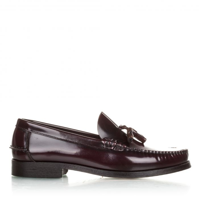 Image for Burgundy leather tassel moccasins