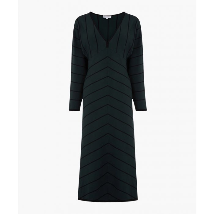 Image for Green stripe chevron batwing dress