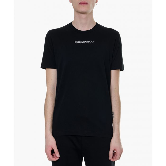 Image for Black embroidered cotton T-shirt